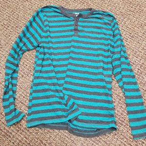 Blue and Grey Stripe Henley